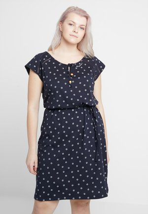 EXCLUSIVE TETUAN DITSY PRINT TIE DETAIL T-SHIRT DRESS - Jerseykjole - navy