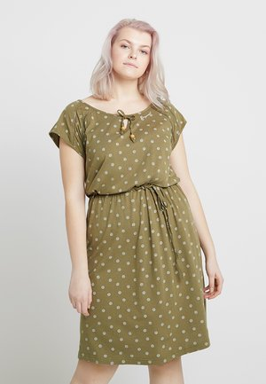 EXCLUSIVE TETUAN DITSY PRINT TIE DETAIL T-SHIRT DRESS - Jerseykjole - olive