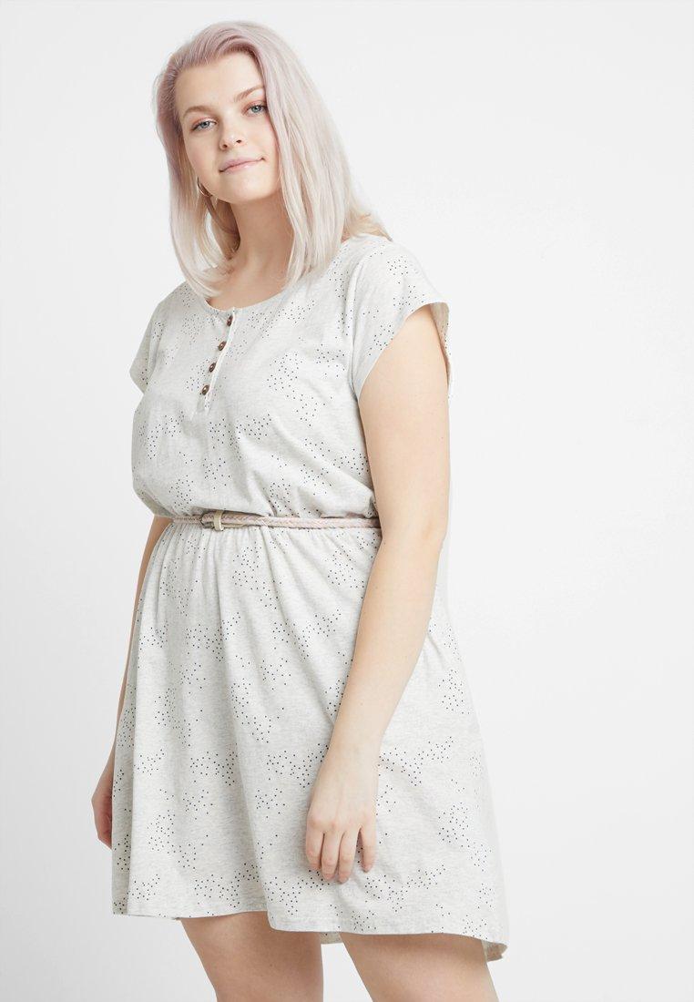 Ragwear Plus - EXCLUSIVE ZEPHIE BELTED SPOT PRINT DRESS - Jerseykjole - white