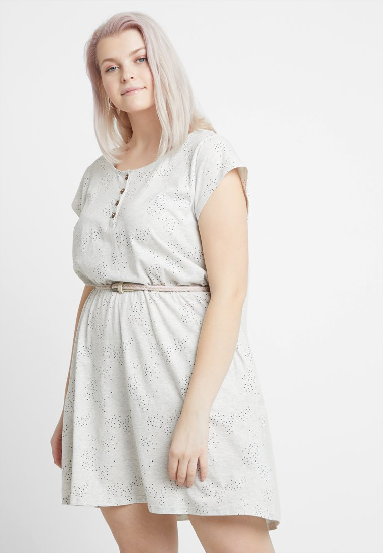 Ragwear Plus - EXCLUSIVE ZEPHIE BELTED SPOT PRINT DRESS - Jersey dress - white