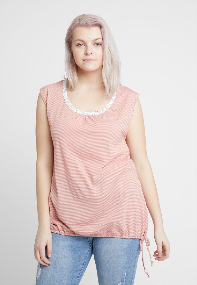Ragwear Plus - EXCLUSIVE EIREEN DRAWSTRINGHEM STRIPE TEE - Top - dusty red