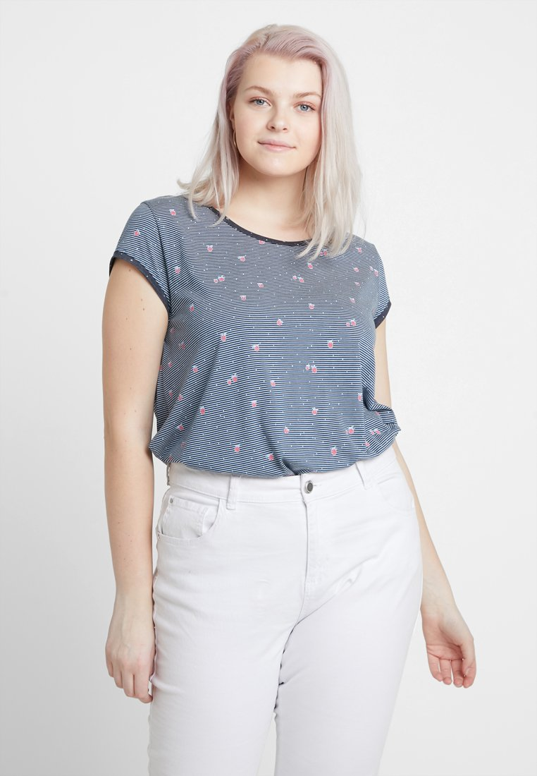 Ragwear Plus - EXCLUSIVE DOMINICA STRAWBERRY PRINT WITH BUTTON BACK - T-Shirt print - denim blue