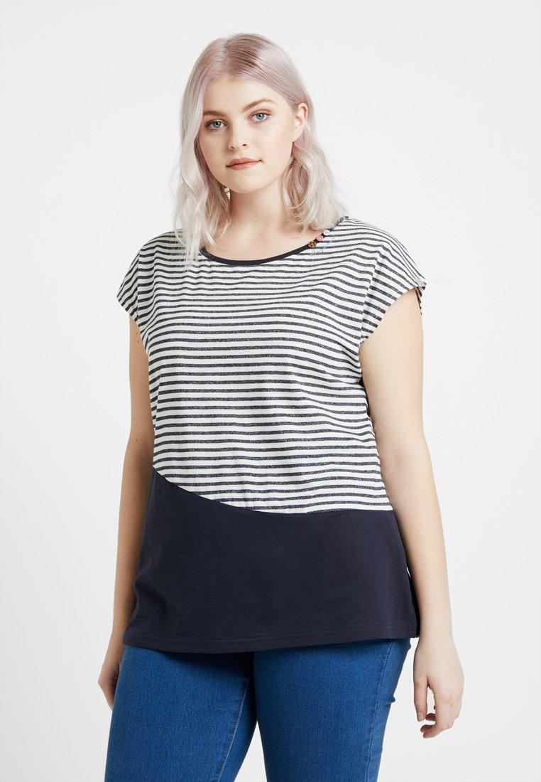 Ragwear Plus - EXCLUSIVE NINON BLOCK STRIPE T-SHIRT - Print T-shirt - navy