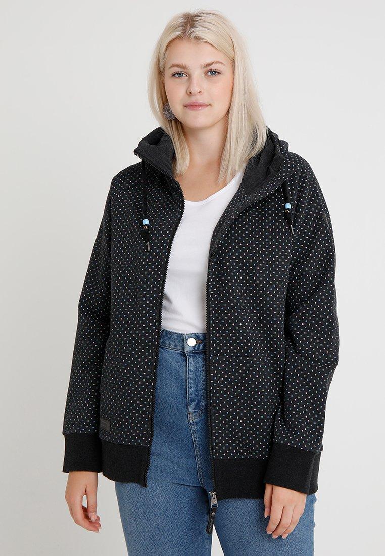 Ragwear Plus - CHELSEA DOTS ZIP - Zip-up hoodie - black