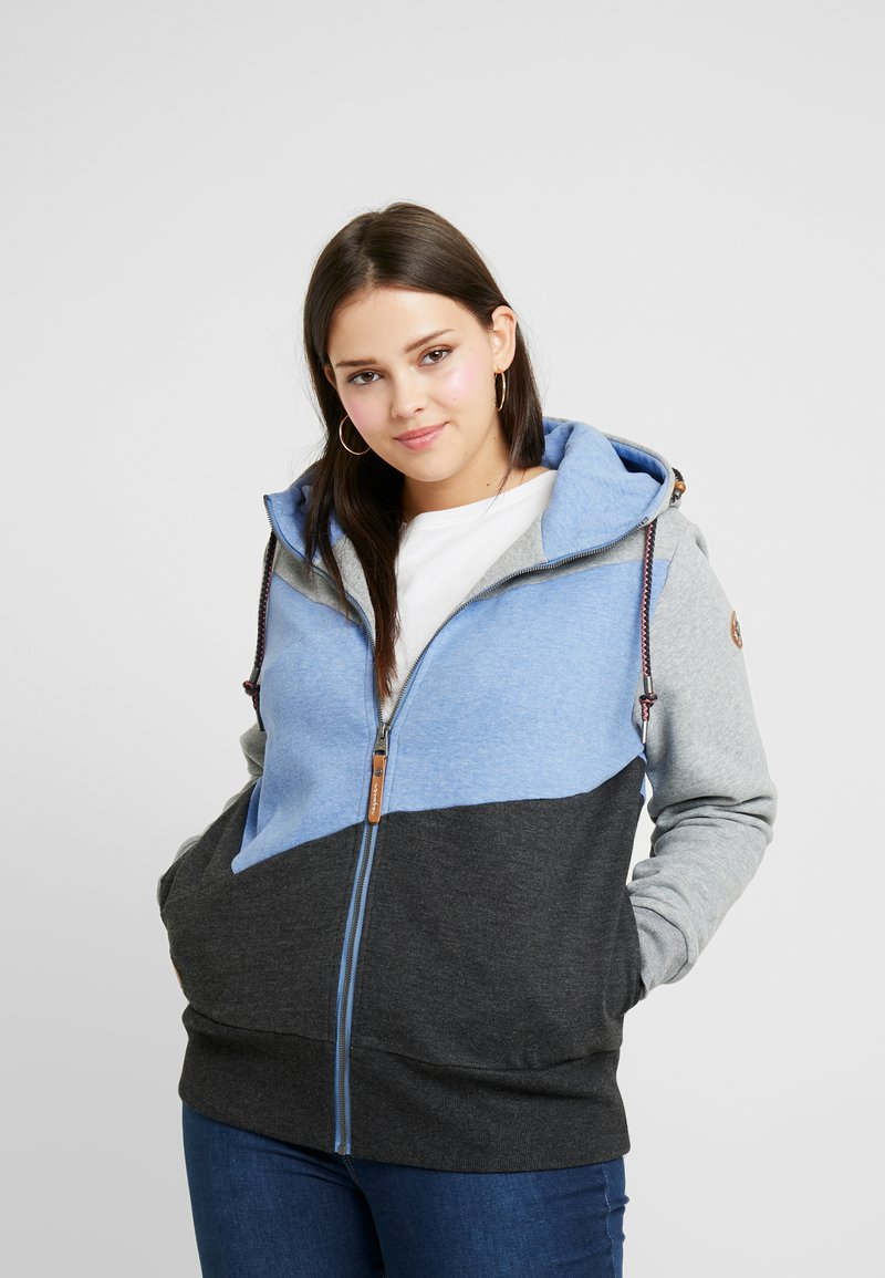 Ragwear Plus - VIOLA BLOCK ZIP THROUGH HOODIE - Sweatjacke - blue