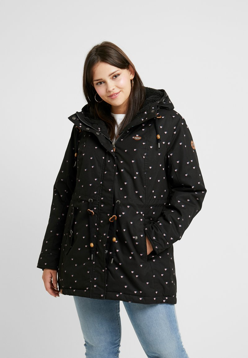 Ragwear Plus - MONADIS HEARTS COAT - Vinterkåpe / -frakk - black