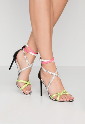 AYLA - High heeled sandals - black/white/yellow