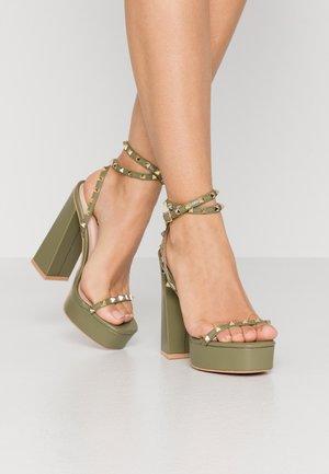 ODINAH - High heeled sandals - sage green