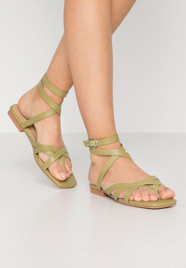 EZRA - T-bar sandals - sage green