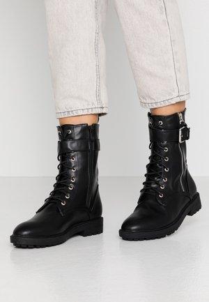 MICAELA - Šněrovací kotníkové boty - black
