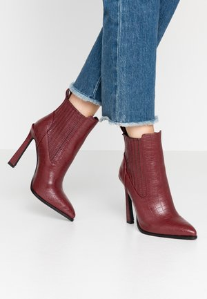 TINA - High heeled ankle boots - wine