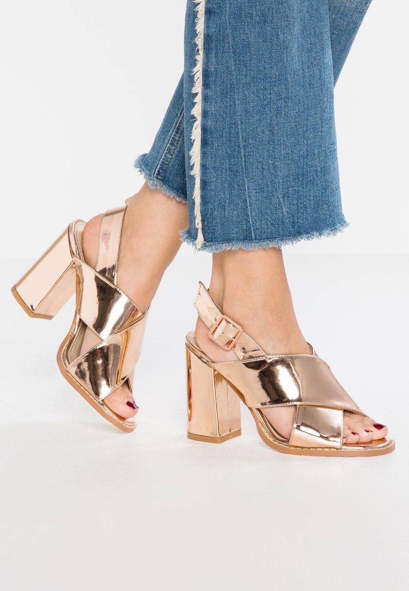 RAID Wide Fit - ABREE - Højhælede sandaletter / Højhælede sandaler - rose gold metallic