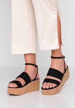 WIDE FIT LEONA - Platform sandals - black