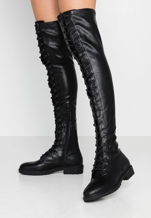 WIDE FIT AMANDA - Høye støvler - black