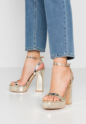 WIDE FIT GIANNA - High heeled sandals - gold metallic