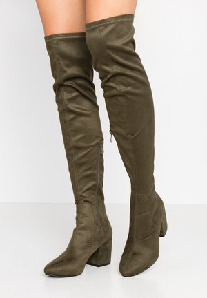 WIDE FIT KOLA - Over-the-knee boots - khaki