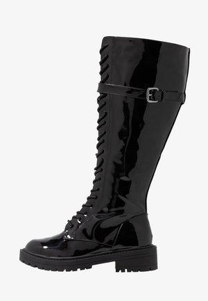WIDE FIT  - Šněrovací vysoké boty - black highshine