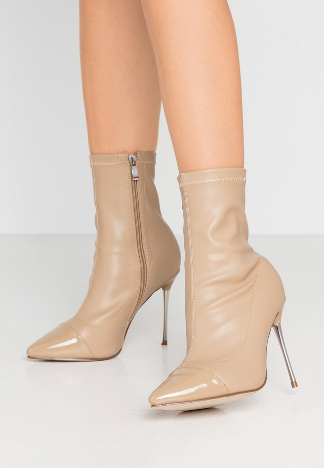 WIDE FIT LIMONE - High heeled ankle boots - nude
