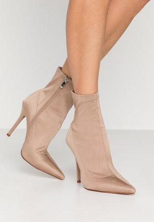 WIDE FIT PRESCA - High heeled ankle boots - nude