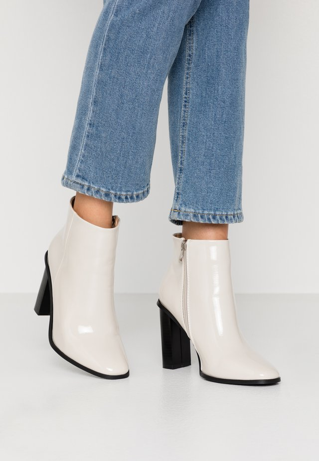 WIDE FIT DYLAN - High heeled ankle boots - offwhite
