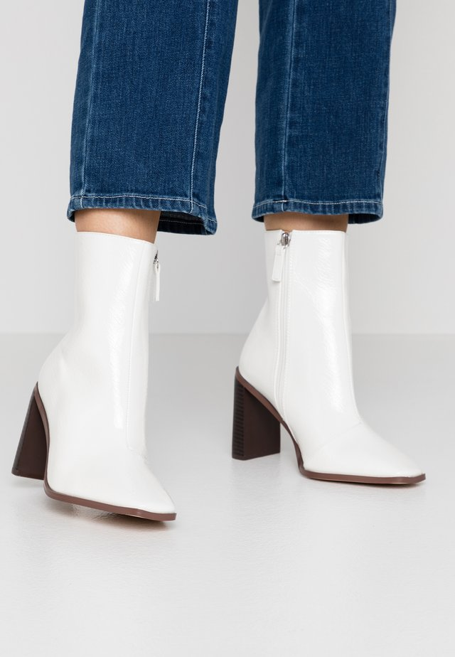 WIDE FIT FRANKY - High heeled ankle boots - offwhite crinkle