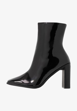 WIDE FIT FRANKY - High heeled ankle boots - black crinkle