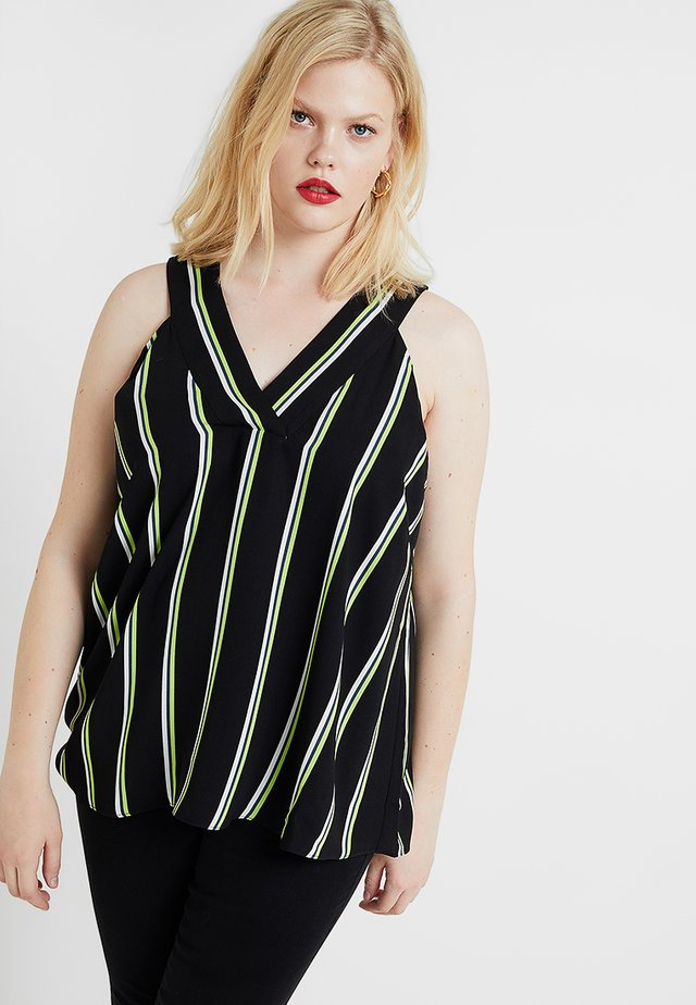 EXCLUSIVE EDINA STRIPE RACER TANK - Blus - black