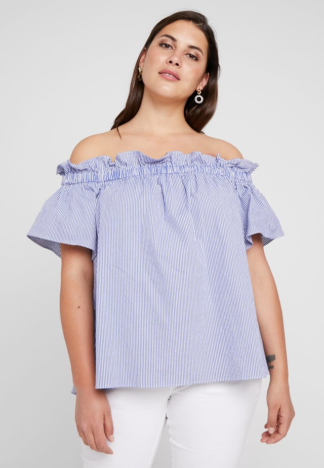 EXCLUSIVE ERLA OFF THE SHOULDER - Bluser - blue/white