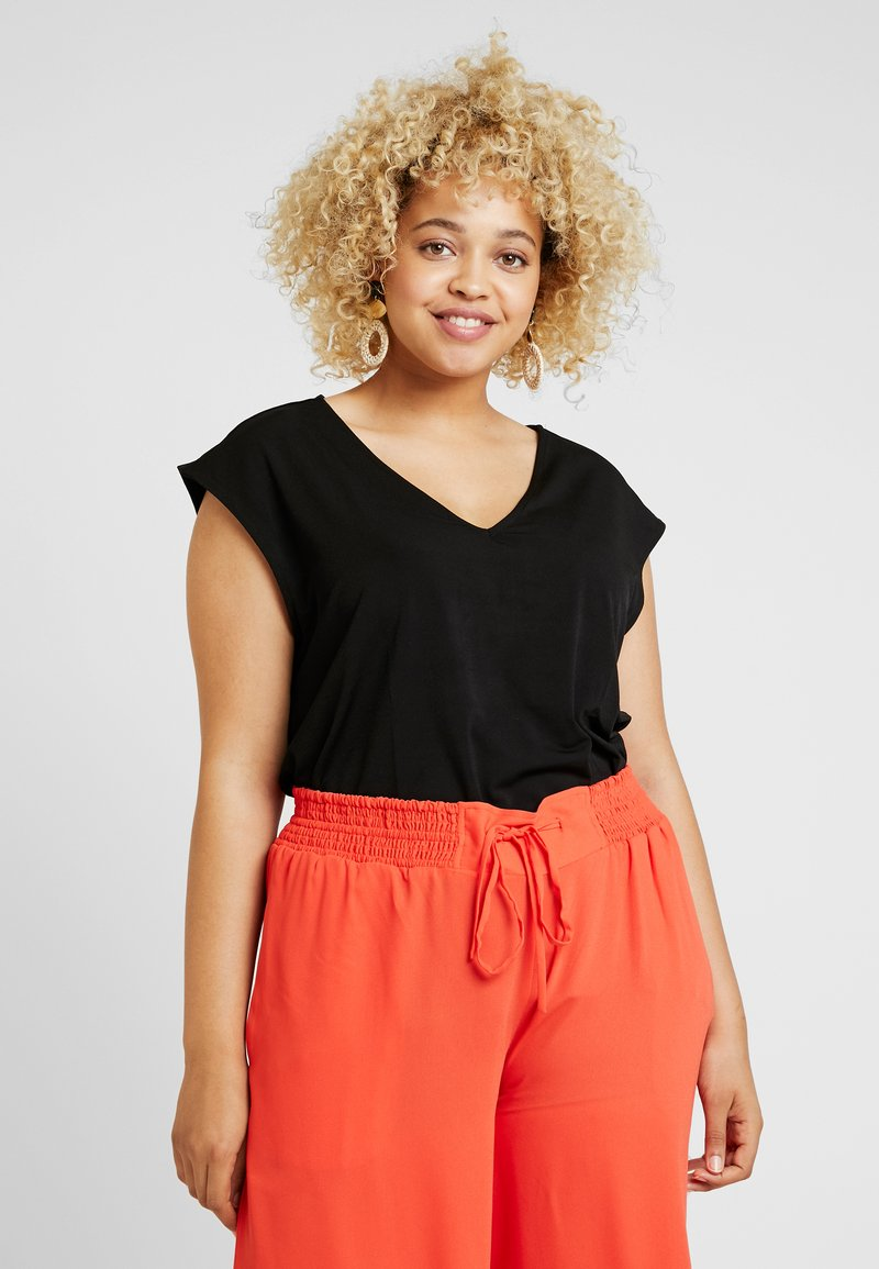 RACHEL Rachel Roy Curvy - EXCLUSIVE BINA CROPPED V NECK - Basic T-shirt - black