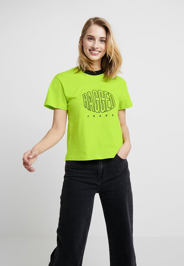 TEE WITH LOGO EMBROIDERY - Triko s potiskem - lime