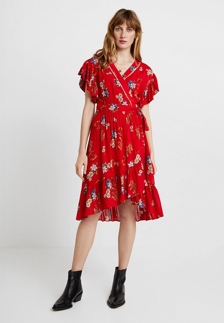 Derhy - FRANCHISE ROBE - Day dress - off white/red