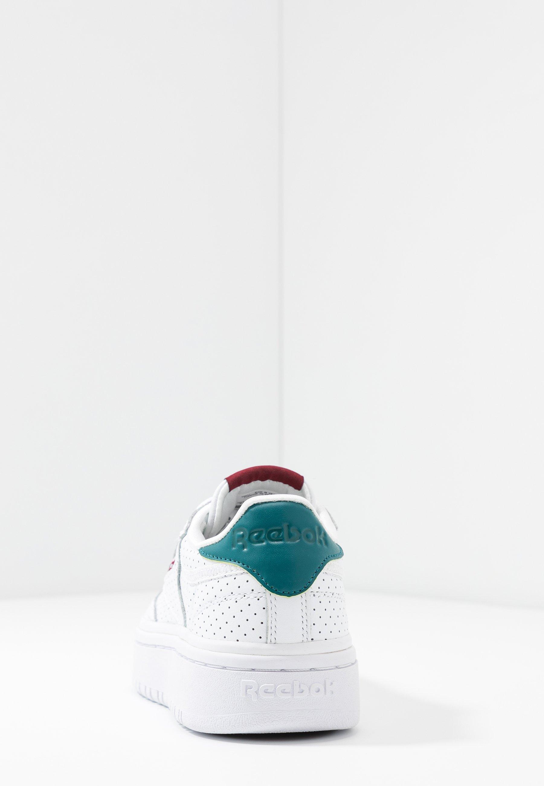 Reebok Classic CLUB C DOUBLE - Sneakers basse - white/heritage teal/merlot