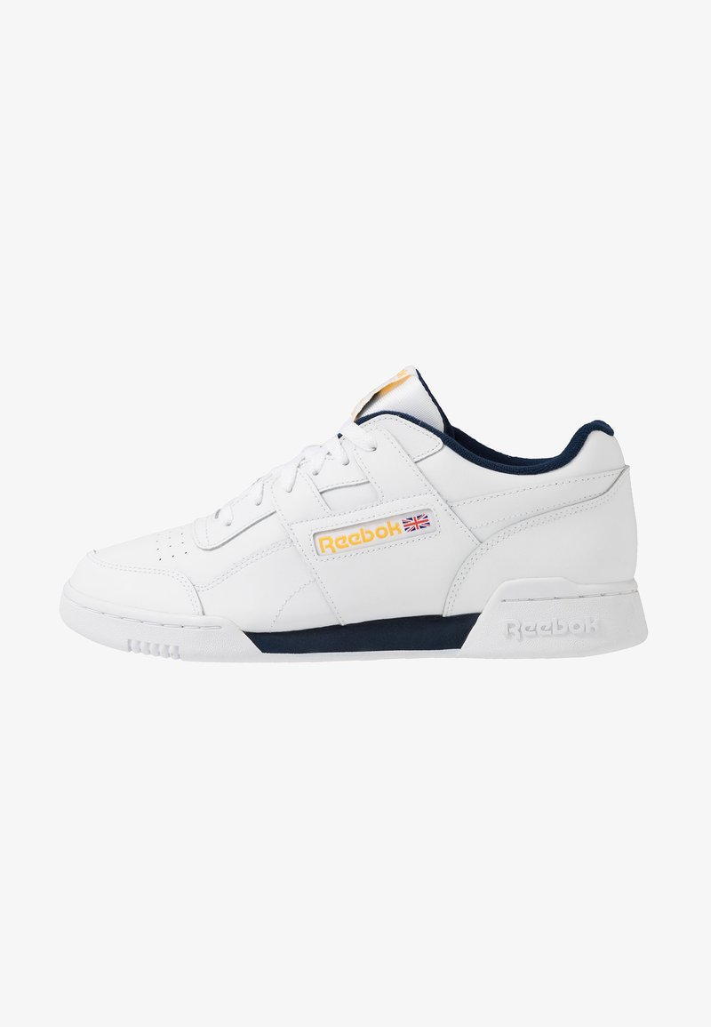 Reebok Classic - WORKOUT PLUS LEATHER UPPER SHOES - Sneakers basse - white/collegiate navy/toxic yellow