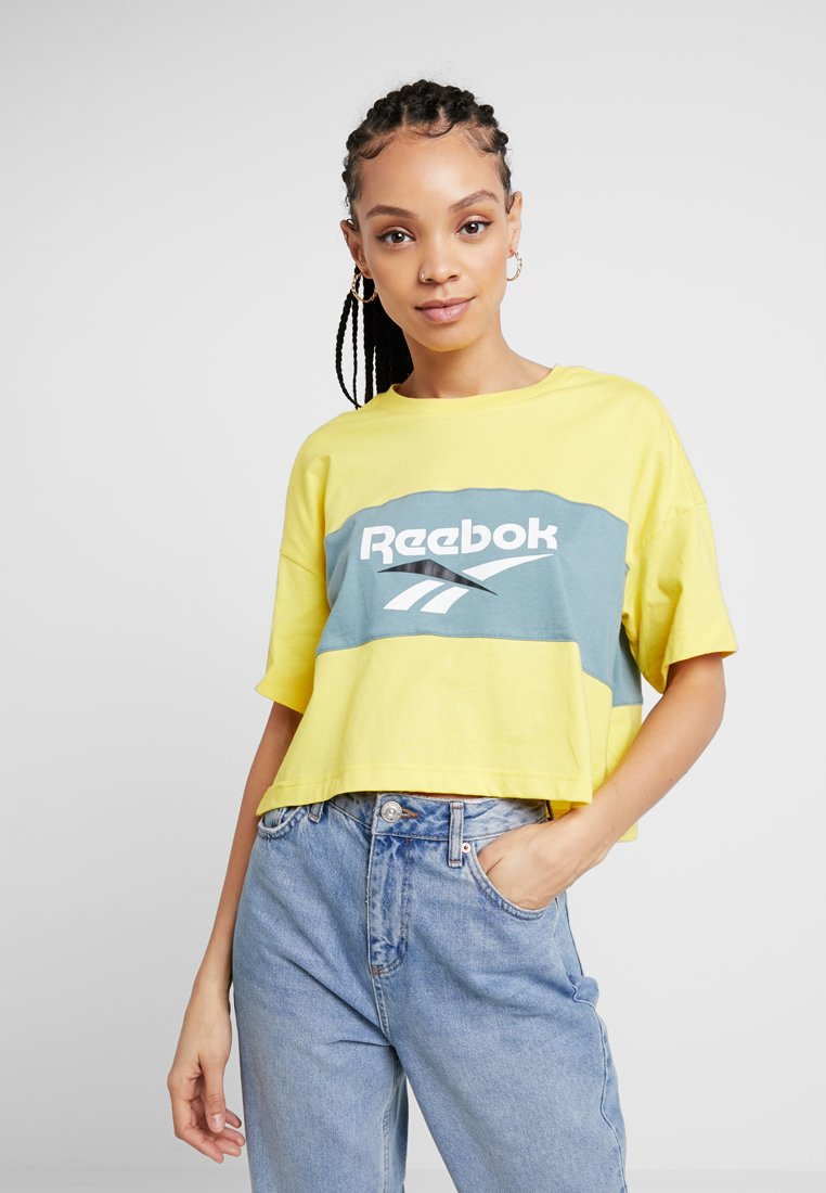 Reebok Classic - CROPEED TEE - T-Shirt print - go yellow/teal fog