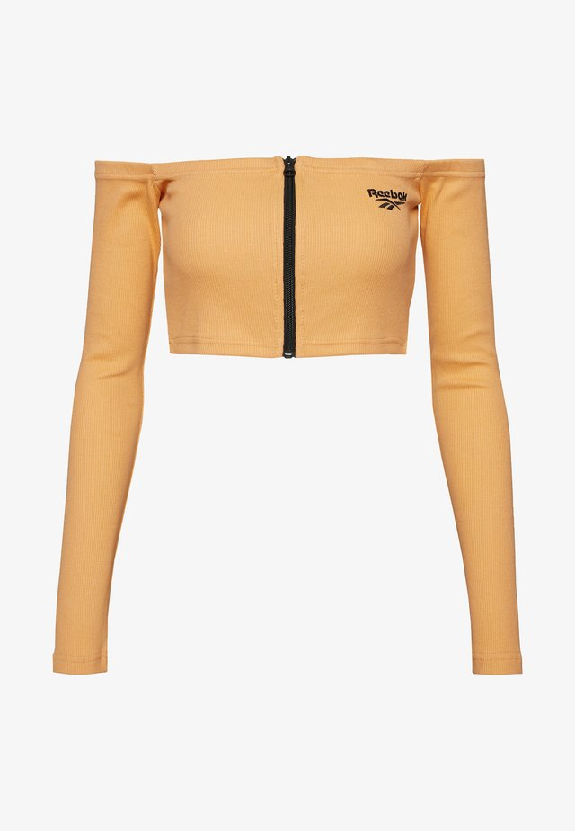 CROP - Top sdlouhým rukávem - sunbaked orange