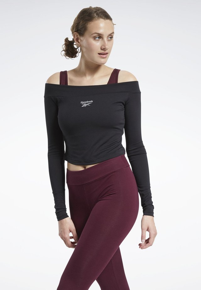 CLASSICS CROPPED LONG-SLEEVE TOP - Long sleeved top - black