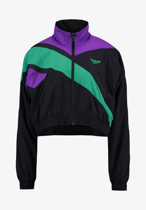 CROPPED TRACK - Cortaviento - black/regal purple/emerald