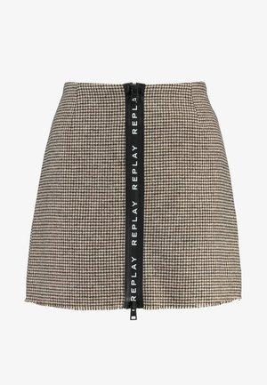 SKIRT - Spódnica trapezowa - ecru/dark brown