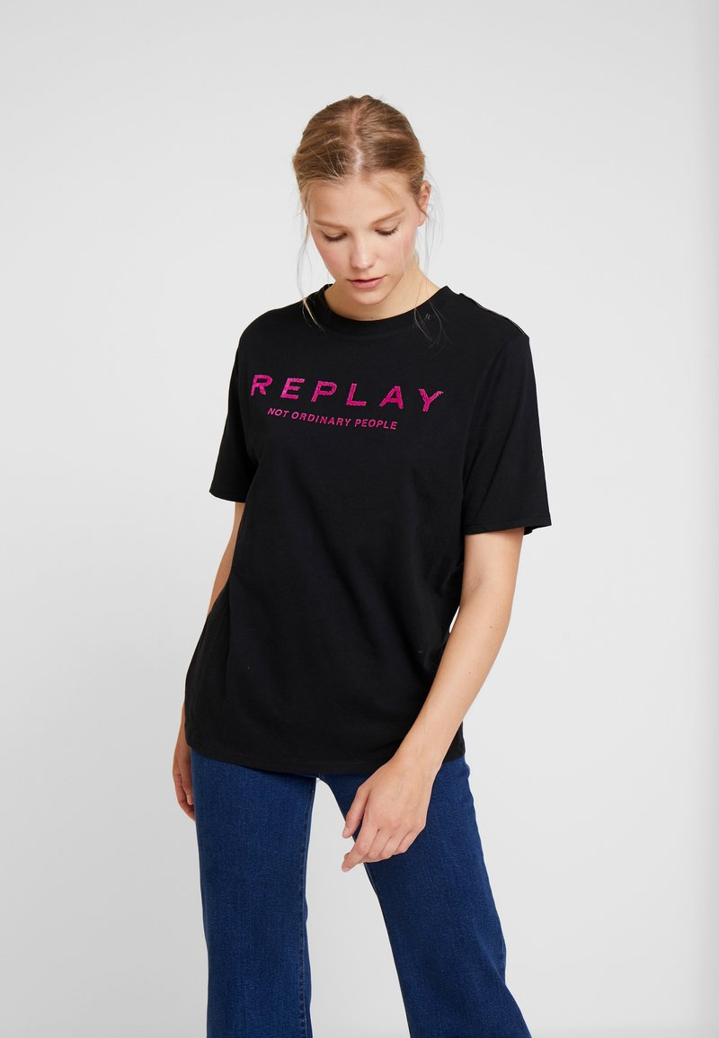 Replay - T-shirt con stampa - black