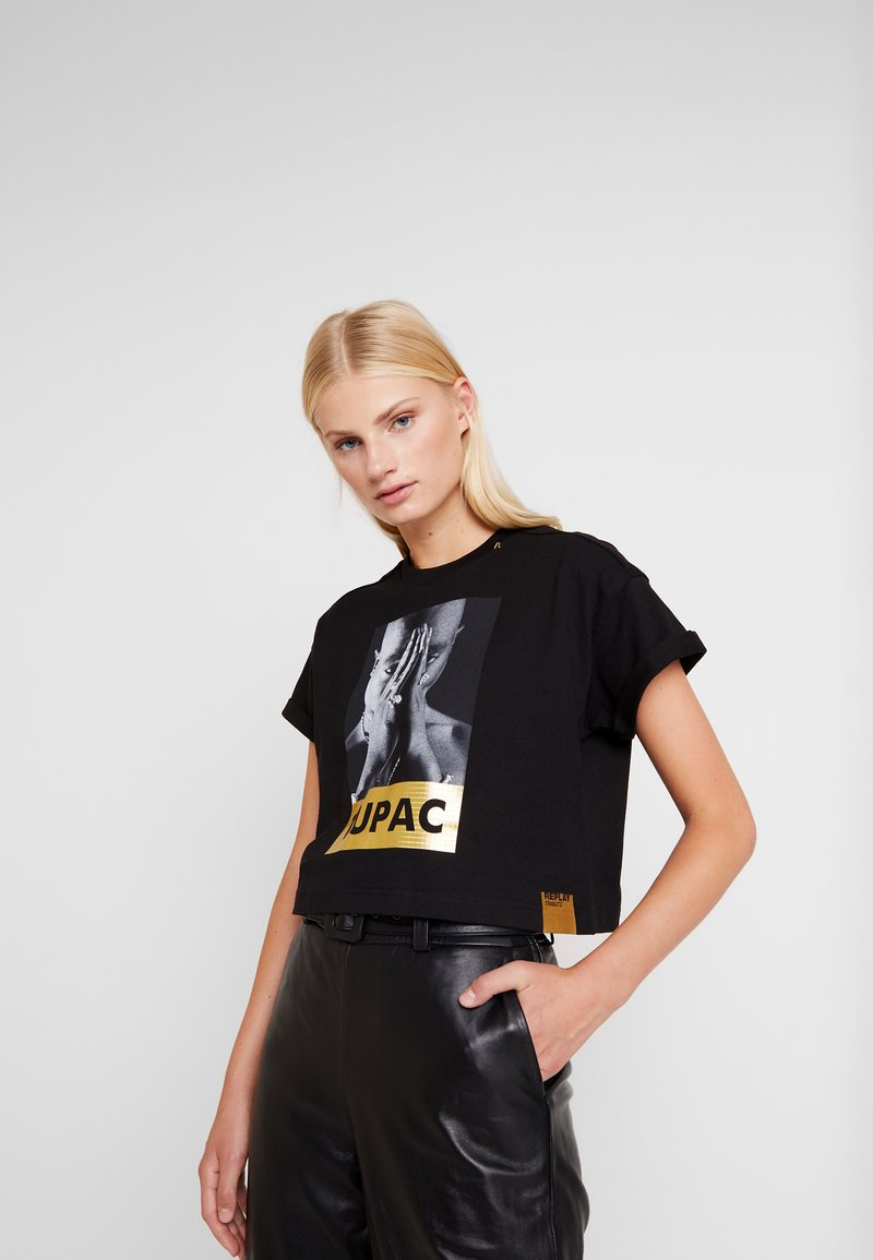 Replay - 2 PAC TEE - Print T-shirt - black