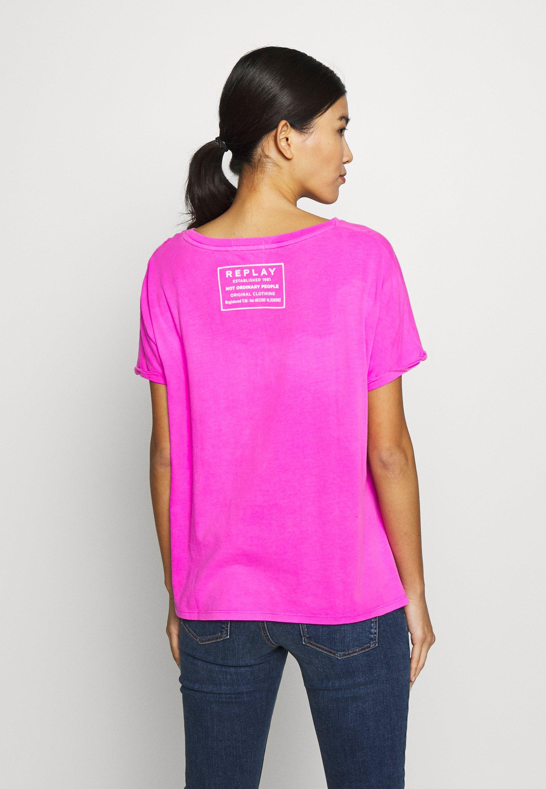 Replay T-shirts med print - fuchsia