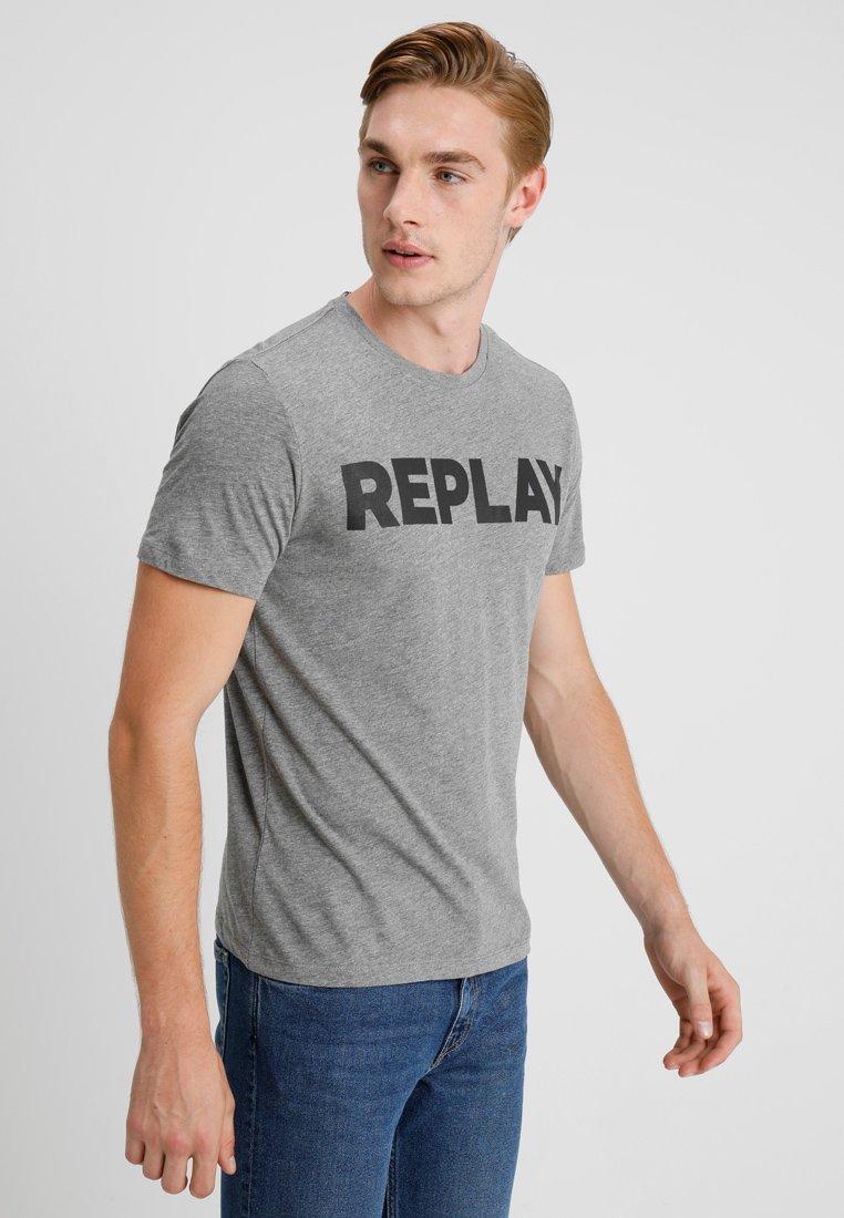 Replay T-shirt z nadrukiem - dark grey melange