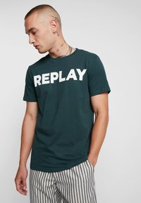 Replay - T-shirt con stampa - dark green - 0