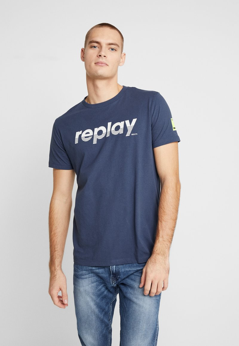 Replay - T-shirt con stampa - night blue
