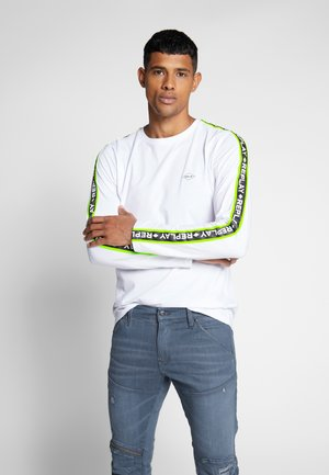 Long sleeved top - white/neon yellow