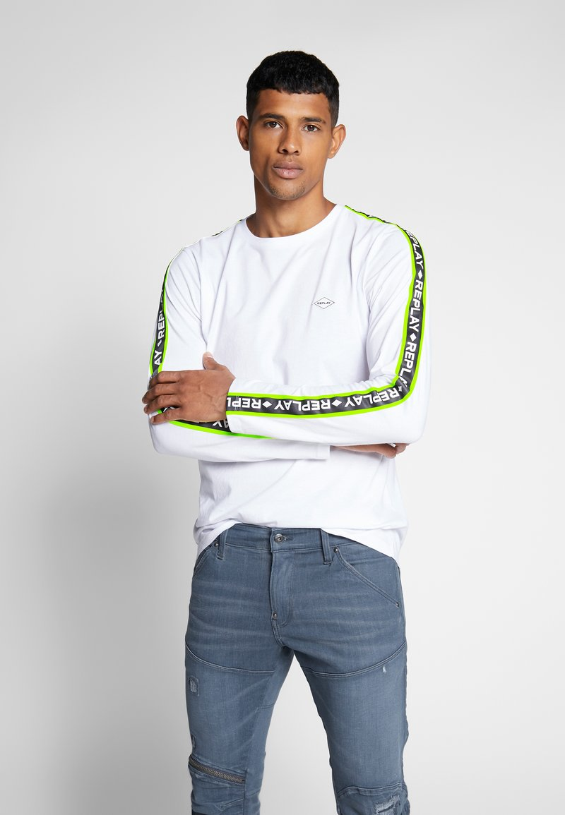 Replay - Maglietta a manica lunga - white/neon yellow