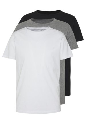 3 PACK - T-shirt basique - black/grey melange/white