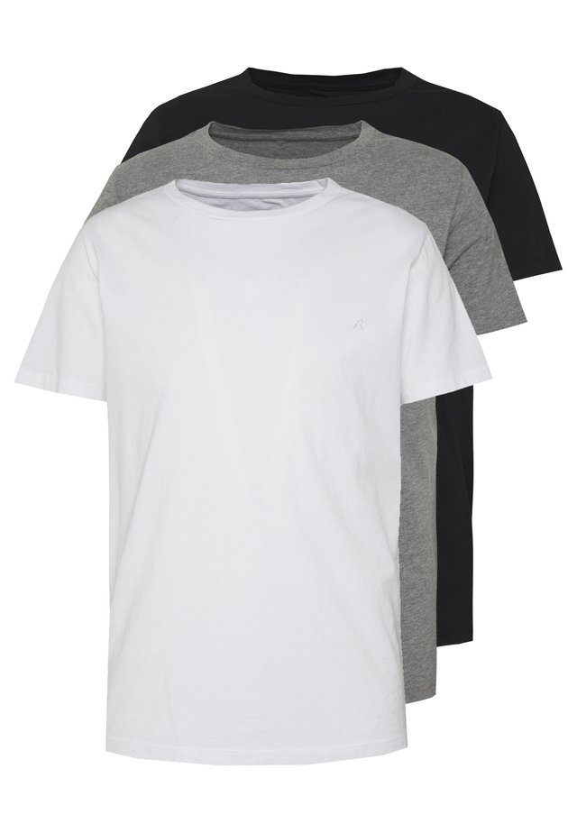3 PACK - T-shirts basic - black/grey melange/white