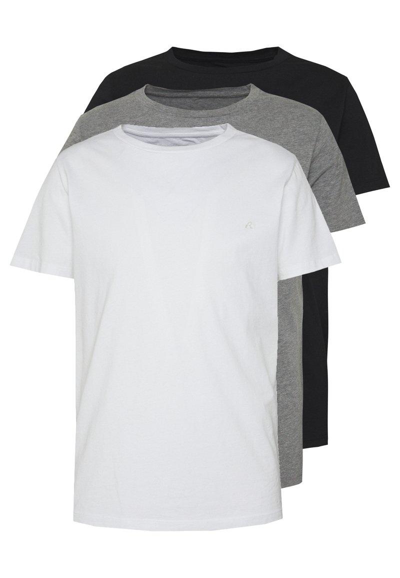 Replay - 3 PACK - Basic T-shirt - black/grey melange/white