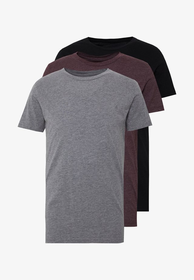 3 PACK - T-shirts basic - black/ grey melange/ bordeaux melange